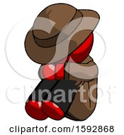 Red Detective Man Sitting With Head Down Facing Angle Left