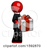 Red Clergy Man Giving A Present