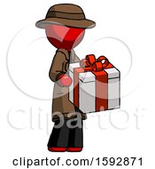 Red Detective Man Giving A Present