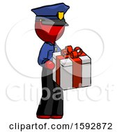 Red Police Man Giving A Present