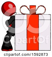 Red Clergy Man Gift Concept Leaning Against Large Present