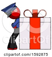 Red Police Man Gift Concept Leaning Against Large Present