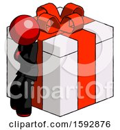 Red Clergy Man Leaning On Gift With Red Bow Angle View