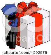 Red Police Man Leaning On Gift With Red Bow Angle View