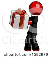 Red Clergy Man Presenting A Present With Large Red Bow On It