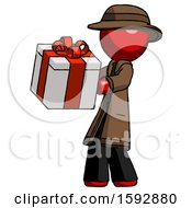 Red Detective Man Presenting A Present With Large Red Bow On It