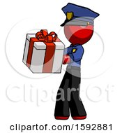 Red Police Man Presenting A Present With Large Red Bow On It
