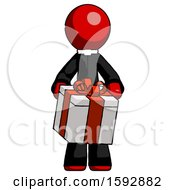 Red Clergy Man Gifting Present With Large Bow Front View