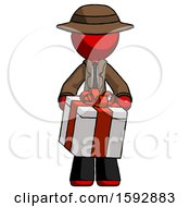 Red Detective Man Gifting Present With Large Bow Front View