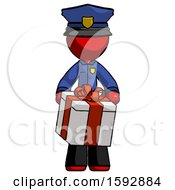 Red Police Man Gifting Present With Large Bow Front View