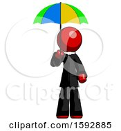 Red Clergy Man Holding Umbrella Rainbow Colored