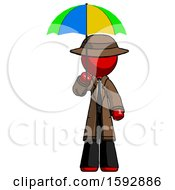 Red Detective Man Holding Umbrella Rainbow Colored
