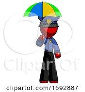 Red Police Man Holding Umbrella Rainbow Colored
