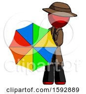 Red Detective Man Holding Rainbow Umbrella Out To Viewer