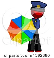 Red Police Man Holding Rainbow Umbrella Out To Viewer
