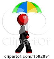Red Clergy Man Walking With Colored Umbrella