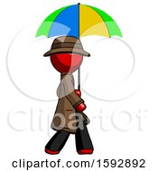 Red Detective Man Walking With Colored Umbrella