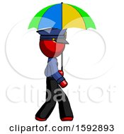 Red Police Man Walking With Colored Umbrella