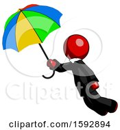 Red Clergy Man Flying With Rainbow Colored Umbrella