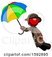 Red Detective Man Flying With Rainbow Colored Umbrella