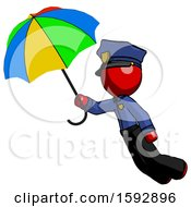 Red Police Man Flying With Rainbow Colored Umbrella