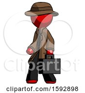 Red Detective Man Walking With Briefcase To The Left