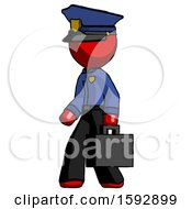 Red Police Man Walking With Briefcase To The Left