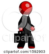 Red Clergy Man Walking With Briefcase To The Right