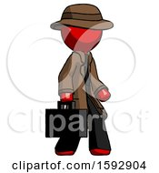 Red Detective Man Walking With Briefcase To The Right