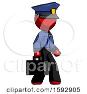 Red Police Man Walking With Briefcase To The Right