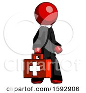 Red Clergy Man Walking With Medical Aid Briefcase To Right