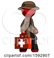 Red Detective Man Walking With Medical Aid Briefcase To Right