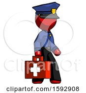 Red Police Man Walking With Medical Aid Briefcase To Right