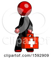Red Clergy Man Walking With Medical Aid Briefcase To Left