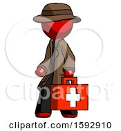 Red Detective Man Walking With Medical Aid Briefcase To Left