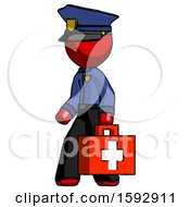 Red Police Man Walking With Medical Aid Briefcase To Left