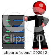 Red Clergy Man With Server Rack Leaning Confidently Against It