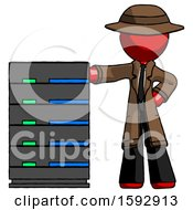 Red Detective Man With Server Rack Leaning Confidently Against It