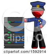 Red Police Man With Server Rack Leaning Confidently Against It