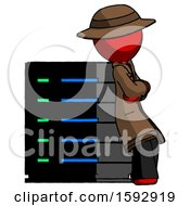 Red Detective Man Resting Against Server Rack Viewed At Angle