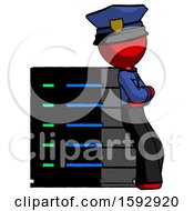Red Police Man Resting Against Server Rack Viewed At Angle