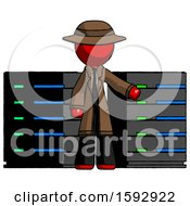 Red Detective Man With Server Racks In Front Of Two Networked Systems