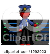 Red Police Man With Server Racks In Front Of Two Networked Systems