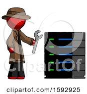 Red Detective Man Server Administrator Doing Repairs