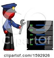 Red Police Man Server Administrator Doing Repairs