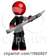 Red Clergy Man Holding Large Scalpel