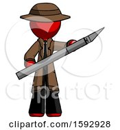 Red Detective Man Holding Large Scalpel