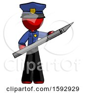 Red Police Man Holding Large Scalpel