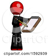 Red Clergy Man Using Clipboard And Pencil