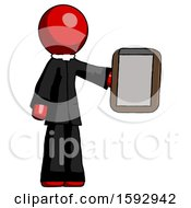 Red Clergy Man Showing Clipboard To Viewer